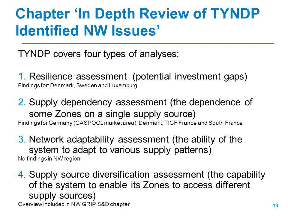 13 TYNDP covers four types of analyses: 1.Resilience assessment (potential investment gaps) Findings for: Denmark, Sweden and Luxemburg 2.Supply dependency assessment (the dependence of some Zones on a single supply source) Findings for Germany (GASPOOL market area), Denmark, TIGF France and South France 3.Network adaptability assessment (the ability of the system to adapt to various supply patterns) No findings in NW region 4.Supply source diversification assessment (the capability of the system to enable its Zones to access different supply sources) Overview included in NW GRIP S&D chapter Chapter 'In Depth Review of TYNDP Identified NW Issues'