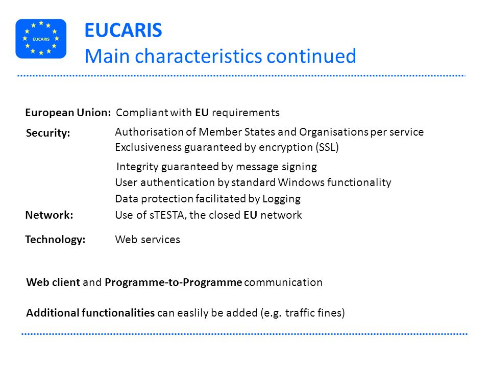 EUCARIS Main characteristics continued Security: Authorisation of Member States and Organisations per service Exclusiveness guaranteed by encryption (
