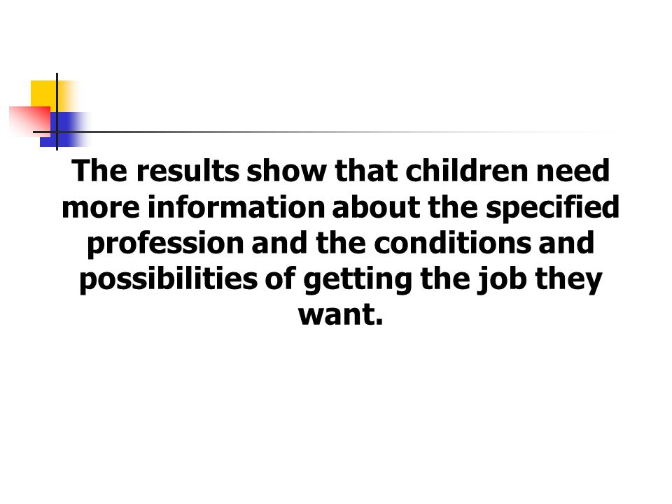 The results show that children need more information about the specified profession and the conditions and possibilities of getting the job they want.