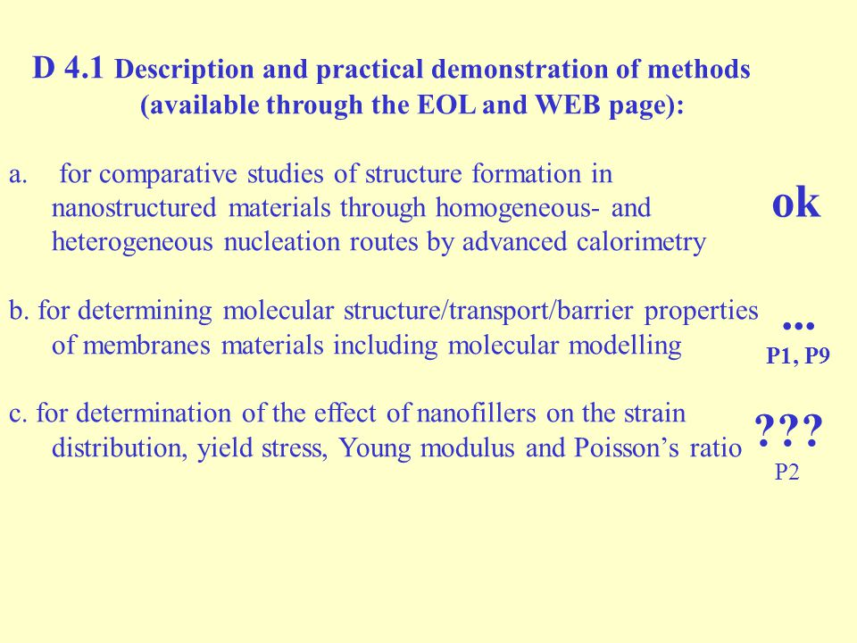 D 4.1 Description and practical demonstration of methods (available through the EOL and WEB page): a.