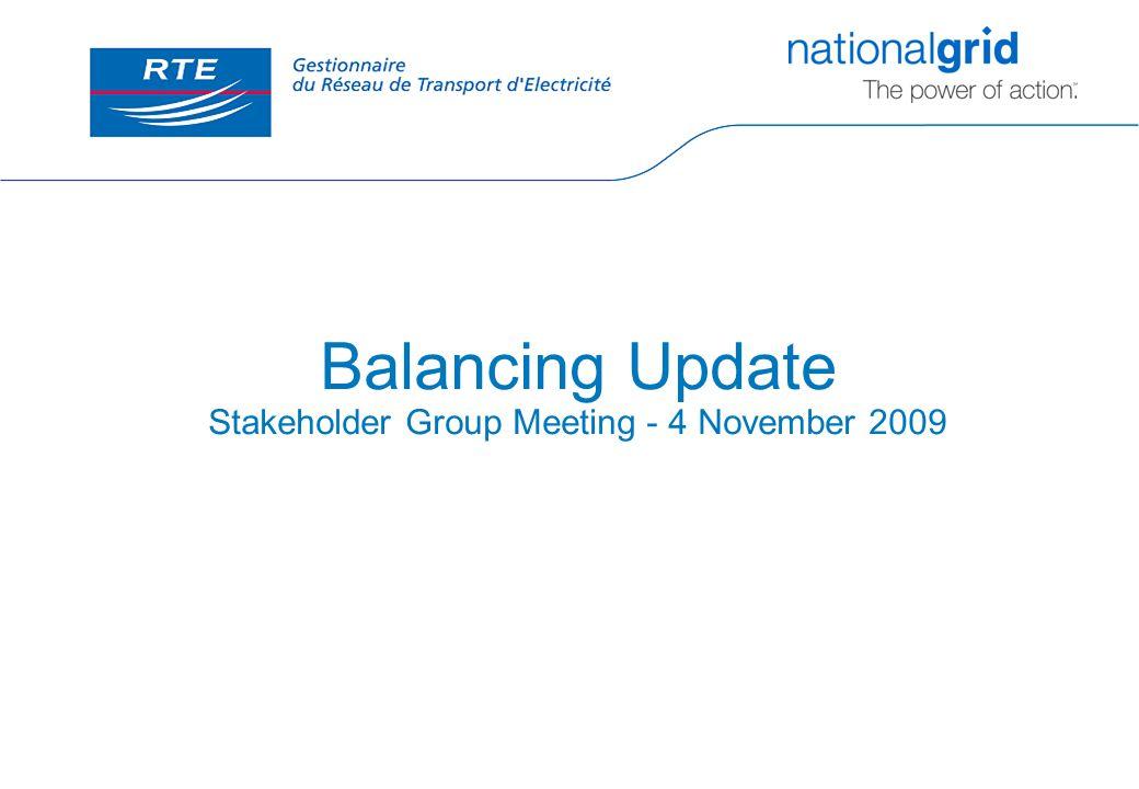 Balancing Update Stakeholder Group Meeting - 4 November 2009