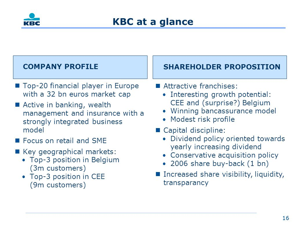 16 KBC at a glance COMPANY PROFILE nTop-20 financial player in Europe with a 32 bn euros market cap nActive in banking, wealth management and insurance with a strongly integrated business model nFocus on retail and SME nKey geographical markets: Top-3 position in Belgium (3m customers) Top-3 position in CEE (9m customers) SHAREHOLDER PROPOSITION nAttractive franchises: Interesting growth potential: CEE and (surprise ) Belgium Winning bancassurance model Modest risk profile nCapital discipline: Dividend policy oriented towards yearly increasing dividend Conservative acquisition policy 2006 share buy-back (1 bn) nIncreased share visibility, liquidity, transparancy