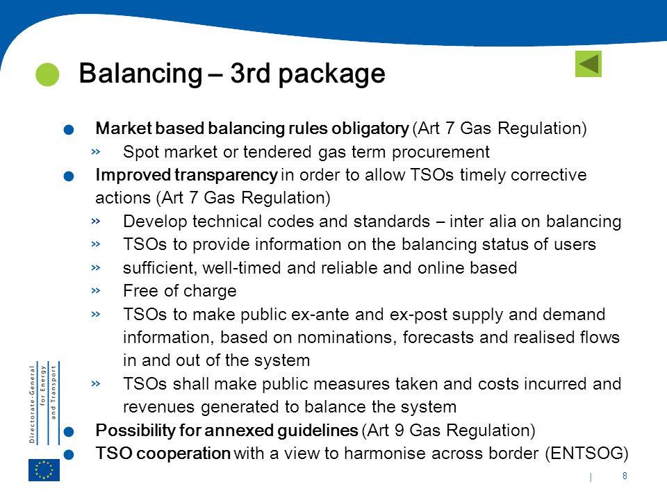 | 8 Balancing – 3rd package. Market based balancing rules obligatory (Art 7 Gas Regulation) » Spot market or tendered gas term procurement. Improved t