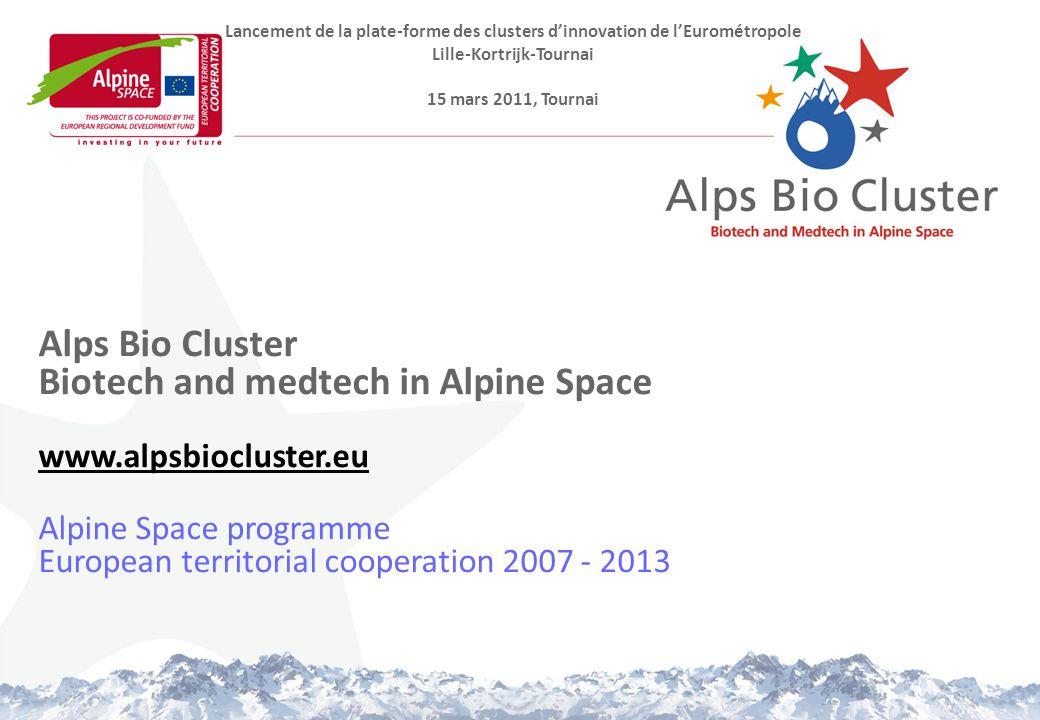 Alps Bio Cluster Biotech and medtech in Alpine Space www.alpsbiocluster.eu Alpine Space programme European territorial cooperation 2007 - 2013 www.alpsbiocluster.eu Lancement de la plate-forme des clusters d'innovation de l'Eurométropole Lille-Kortrijk-Tournai 15 mars 2011, Tournai