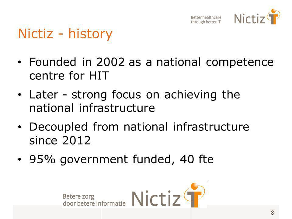 Nictiz - core activities 9 Standardization & Interoperability Monitoring & Trend analysis Connecting organisations and initiatives Knowledge and Expertise