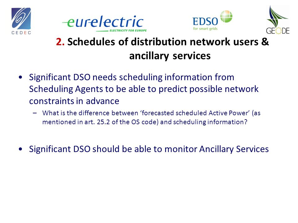 Significant DSO needs scheduling information from Scheduling Agents to be able to predict possible network constraints in advance –What is the difference between 'forecasted scheduled Active Power' (as mentioned in art.