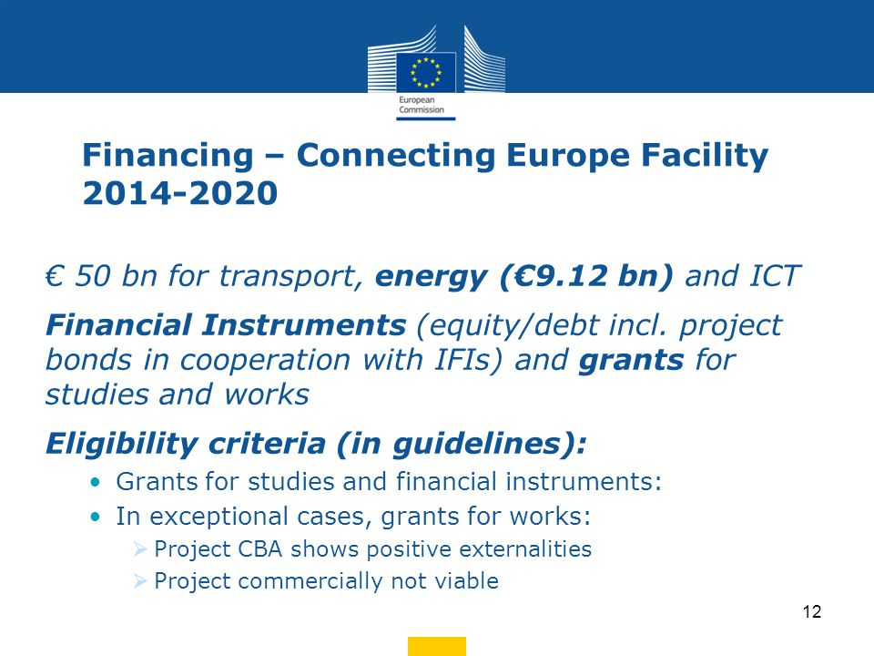 Financing – Connecting Europe Facility 2014-2020 € 50 bn for transport, energy (€9.12 bn) and ICT Financial Instruments (equity/debt incl. project bon