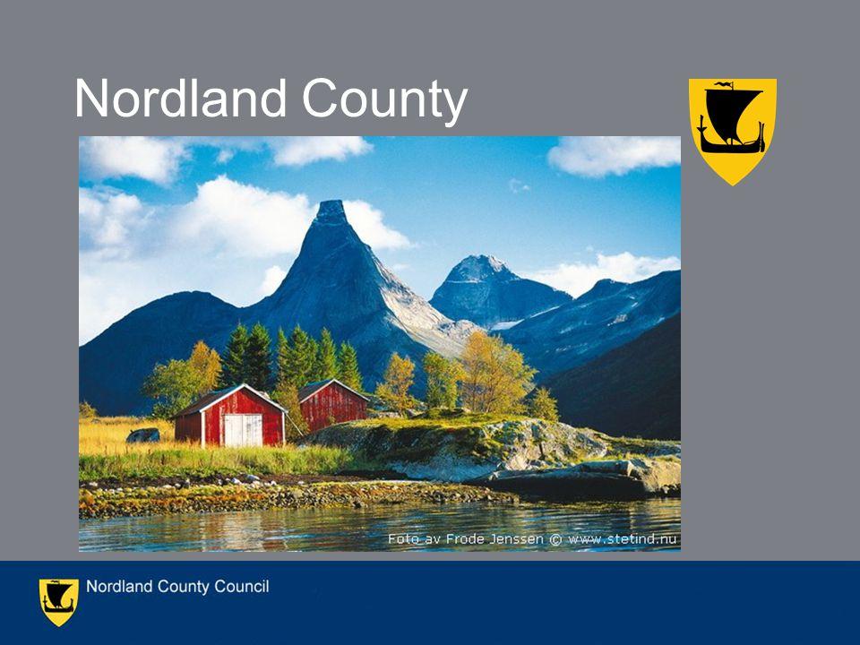 Population: 240.000 44 Municipalities ranging from 470 inhabitants (Træna) to 41 000 (Bodø) Area: 38.237 km 2 Nordland has 25 % of Norways coastline 85 % of population lives along the coast The region Nordland