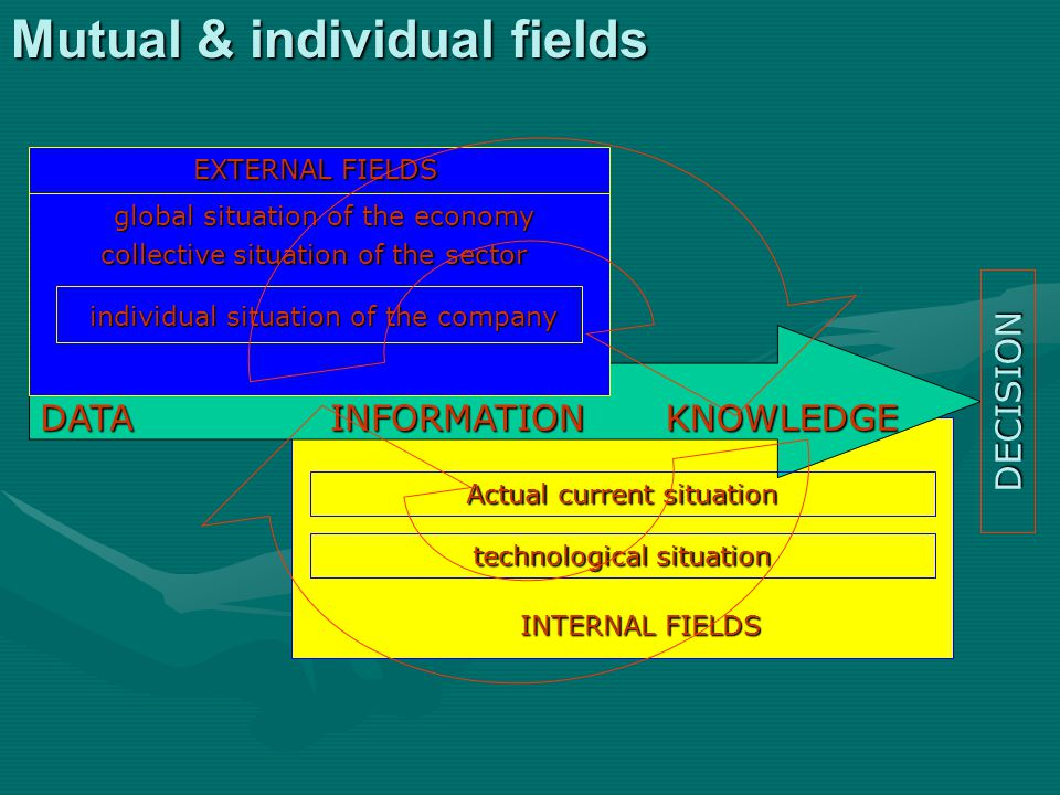 DATAINFORMATIONKNOWLEDGE EXTERNAL FIELDS INTERNAL FIELDS collective situation of the sector individual situation of the company global situation of the economy technological situation Actual current situation DECISION Mutual & individual fields