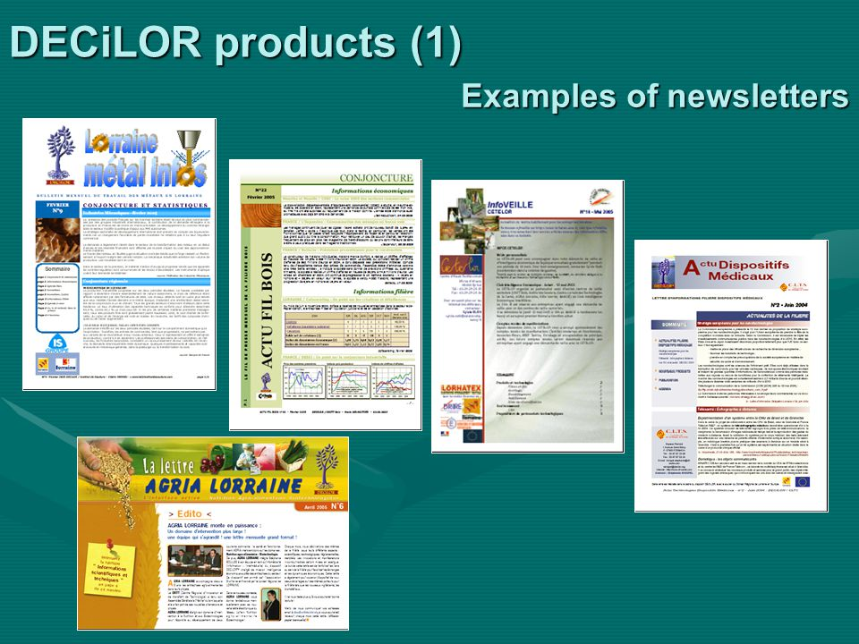 DECiLOR products (1) Examples of newsletters