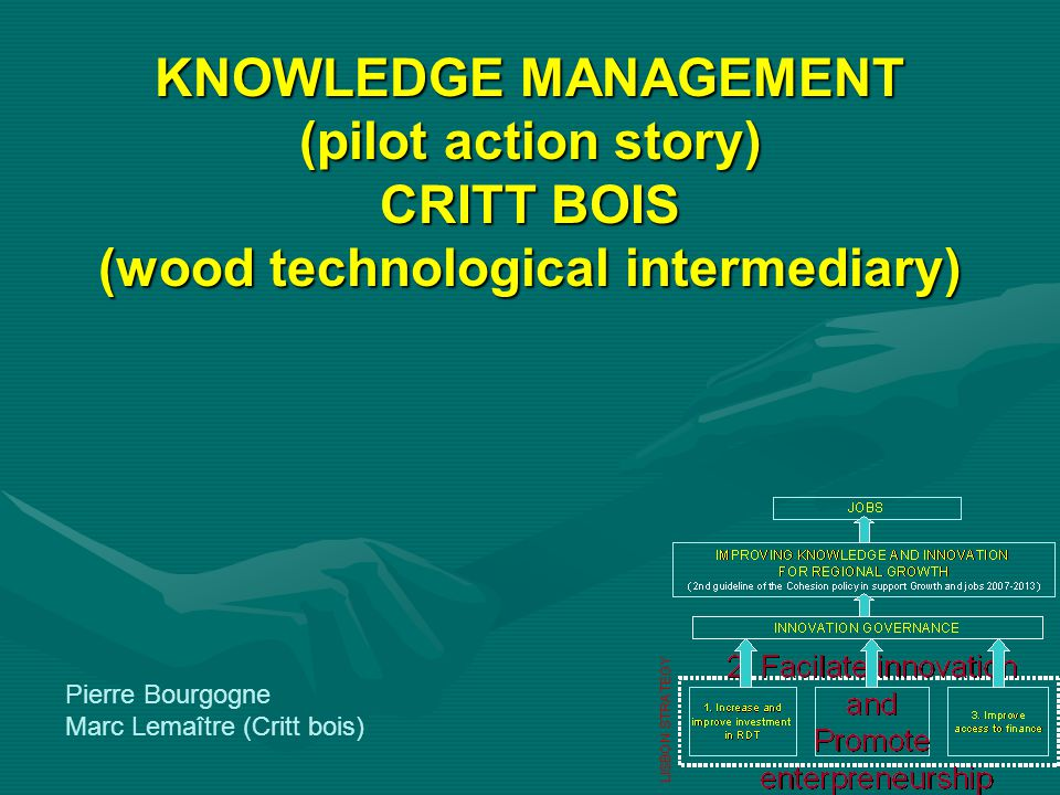 KNOWLEDGE MANAGEMENT (pilot action story) CRITT BOIS (wood technological intermediary) Pierre Bourgogne Marc Lemaître (Critt bois)