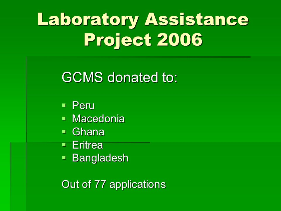 Laboratory Assistance Project 2006 GCMS donated to:  Peru  Macedonia  Ghana  Eritrea  Bangladesh Out of 77 applications