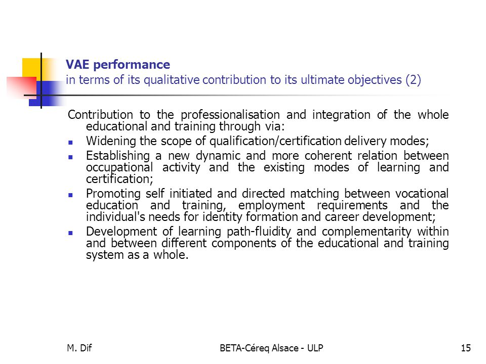 M. DifBETA-Céreq Alsace - ULP15 VAE performance in terms of its qualitative contribution to its ultimate objectives (2) Contribution to the profession