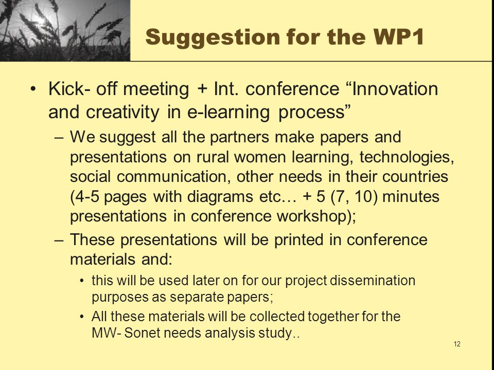 Suggestion for the WP1 Kick- off meeting + Int.
