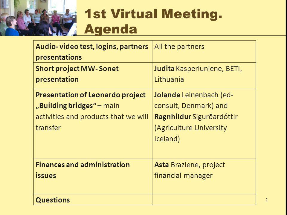 General information 1/2 Name: Mentoring rural women through social networking (MW- Sonet) Number: LLP-LDV-TOI-2009-LT-0052 Start: 2009-10-01 Finish: 2011-09-30 Duration: 24 months Grant Leonardo: 214.518 EUR