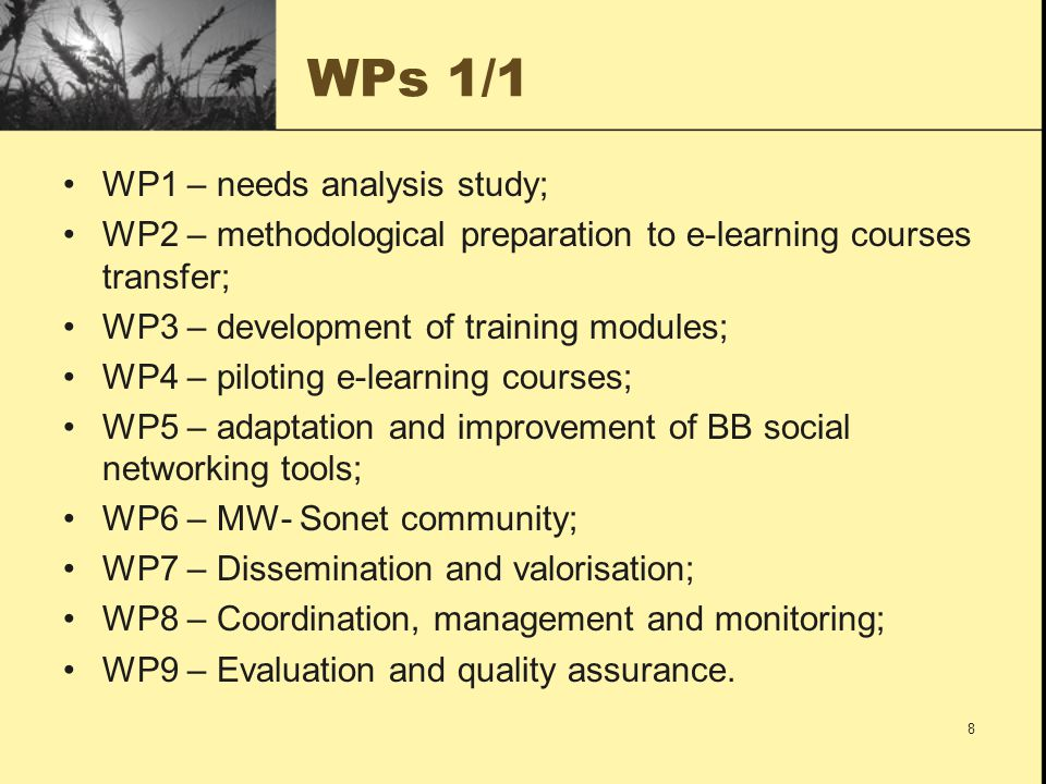 MW-Sonet WORK PLAN 9 200920102011 P0P1P2P3P4P5P6P7P8 101112123456789101112123456789 LT1LT2BGDKELHUISLT3TR ZUIBETIZUM Block1 WP1 Needs analysis study ++P4+++ WP2 Methodological preparation to e-learning courses transfer ++P6+ WP3 Development of training modules P1++++ WP4 Piloting – implementation and trials ++++P5++ Block2 WP5 Adaptation and improvements of Building Bridges social networking tools +P2+++++ WP6 MW-sonet community +++P3+++++ Block3 WP7 Dissemination and valorisation P0++++++++ WP8 Coordination, Management and Monitoring +P1+++++++ WP9 Evaluation and quality assurance P0++++++++