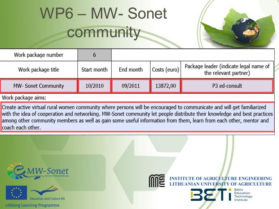 WP6 – MW- Sonet community