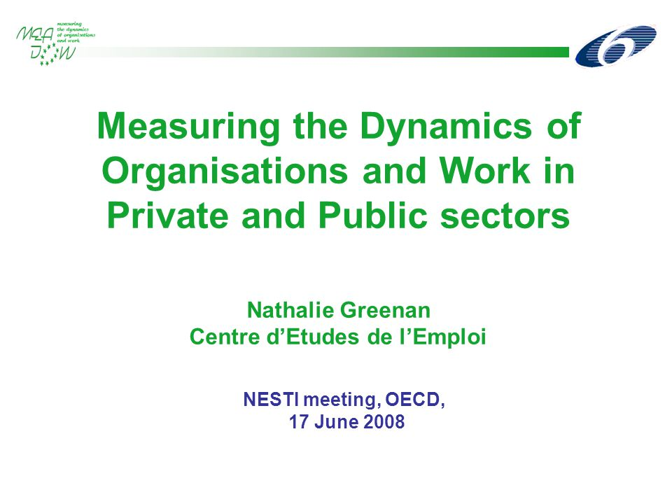 Measuring the Dynamics of Organisations and Work in Private and Public sectors Nathalie Greenan Centre d'Etudes de l'Emploi NESTI meeting, OECD, 17 June 2008