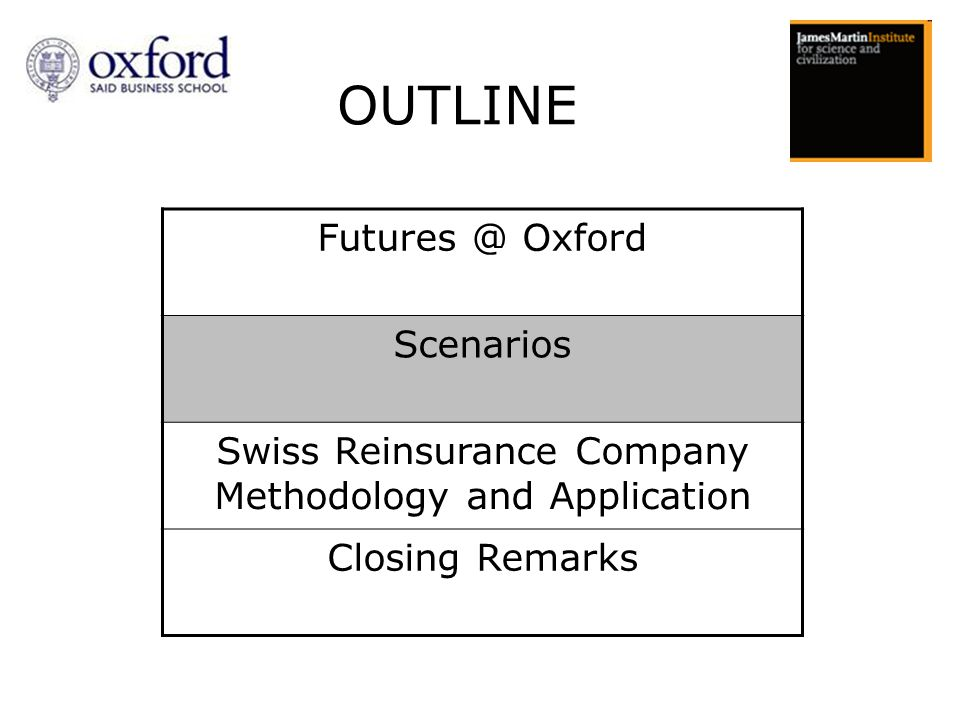 OUTLINE Futures @ Oxford Scenarios Swiss Reinsurance Company Methodology and Application Closing Remarks