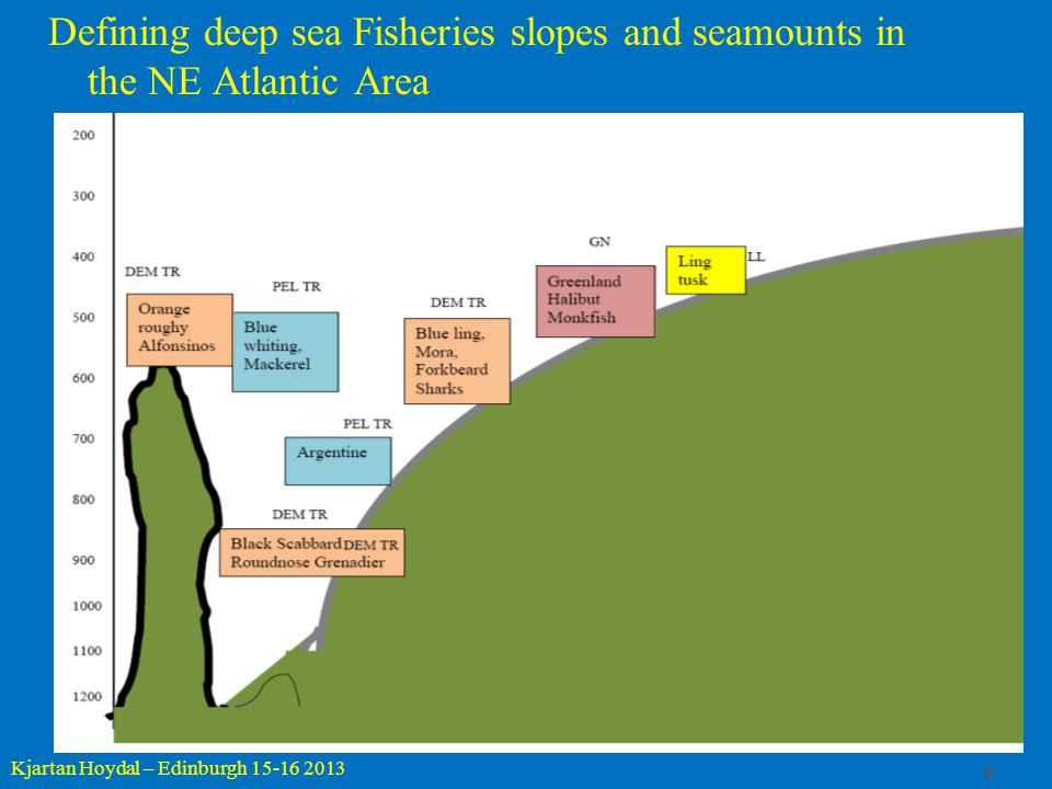 9 Kjartan Hoydal – Edinburgh 15-16 2013 Defining deep sea Fisheries slopes and seamounts in the NE Atlantic Area