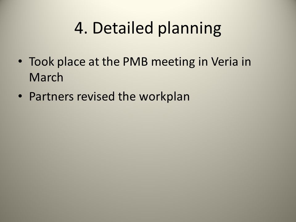 4. Detailed planning Took place at the PMB meeting in Veria in March Partners revised the workplan