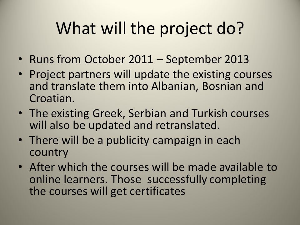 What will the project do.