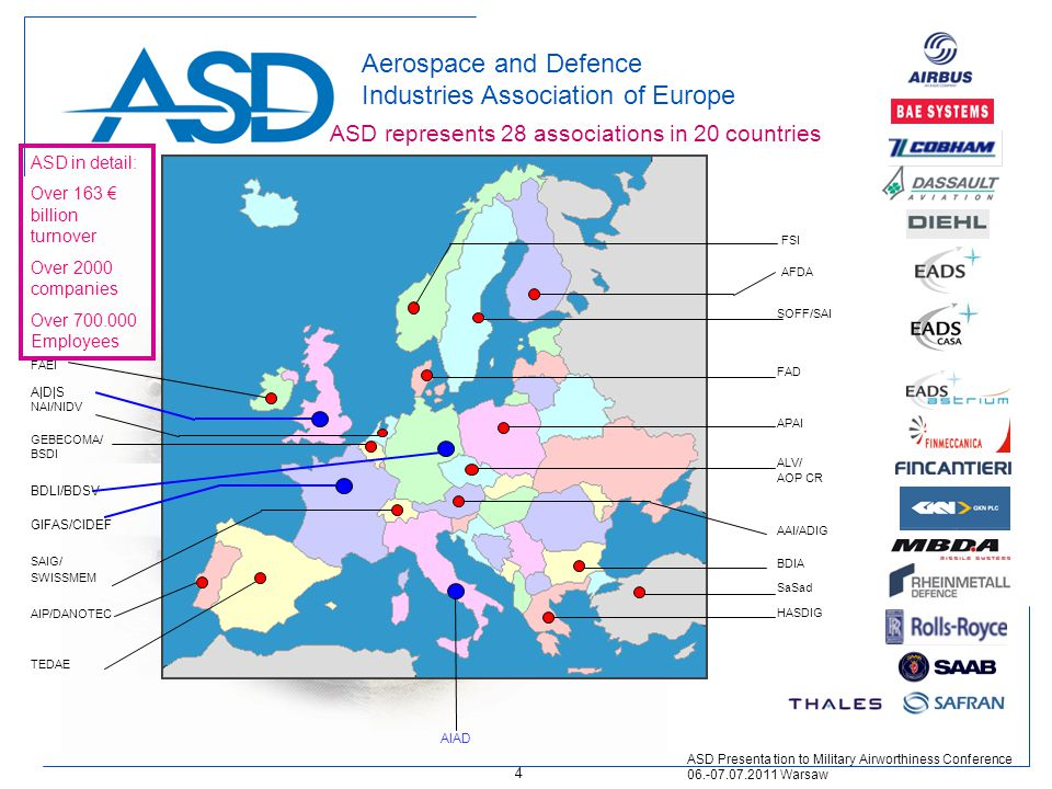 Aerospace and Defence Industries Association of Europe A|D|S AIAD GIFAS/CIDEF TEDAE AIP/DANOTEC FAEI GEBECOMA/ BSDI NAI/NIDV BDLI/BDSV SAIG/ SWISSMEM