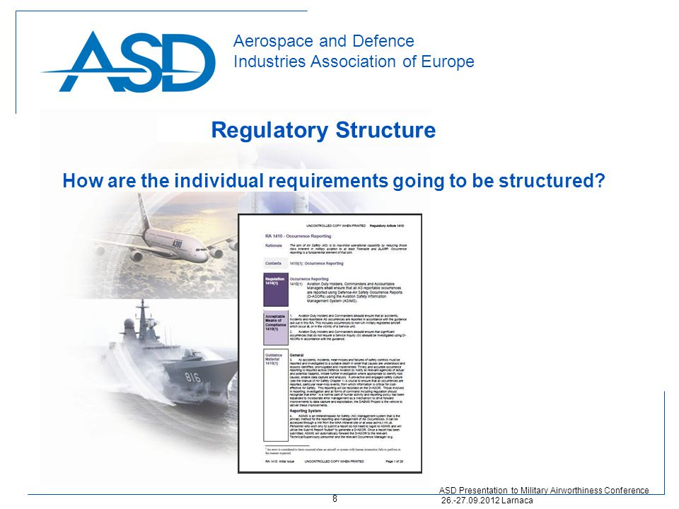 Aerospace and Defence Industries Association of Europe Regulatory Structure ASD Presentation to Military Airworthiness Conference 26.-27.09.2012 Larna