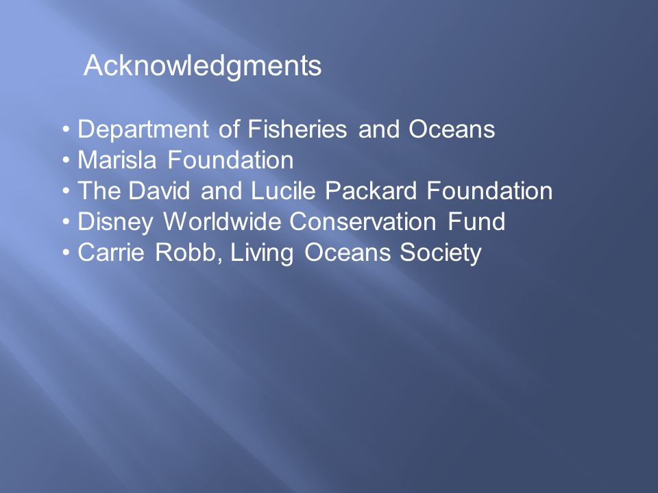 Acknowledgments Department of Fisheries and Oceans Marisla Foundation The David and Lucile Packard Foundation Disney Worldwide Conservation Fund Carri
