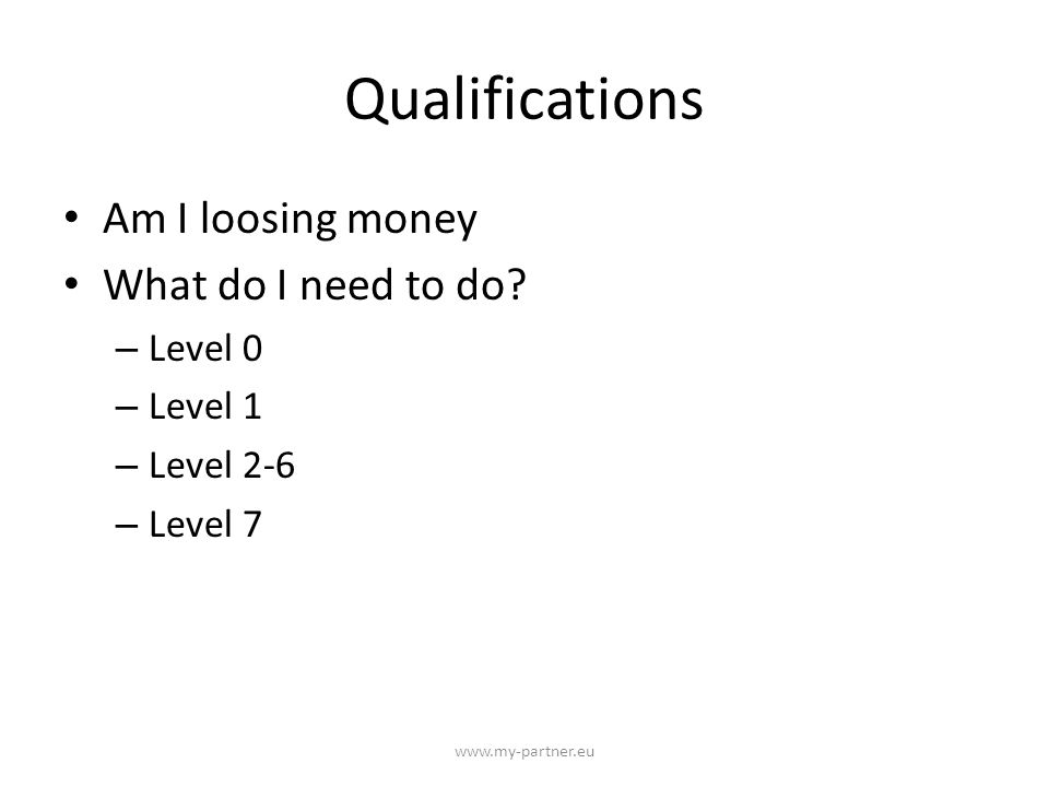 Qualifications Am I loosing money What do I need to do.