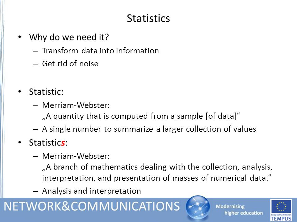 Statistics Why do we need it.