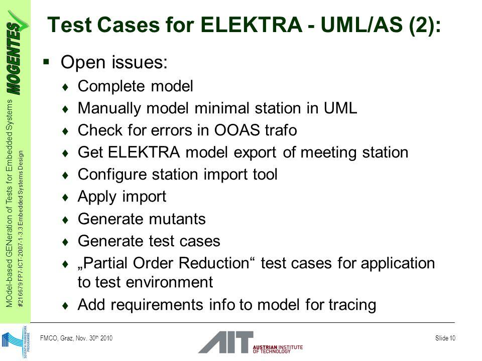 MOdel-based GENeration of Tests for Embedded Systems #216679 FP7-ICT-2007-1-3.3 Embedded Systems Design Slide 10 FMCO, Graz, Nov. 30 th 2010 Test Case