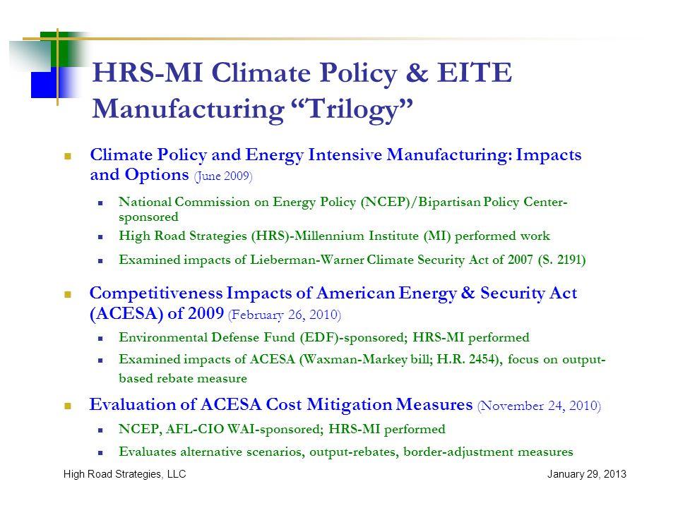 Study Framework January 29, 2013High Road Strategies, LLC