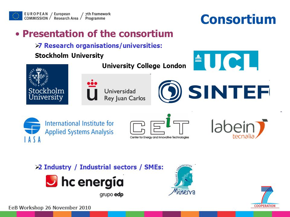 EeB Workshop 26 November 2010 Presentation of the consortium  7 Research organisations/universities: Stockholm University University College London 