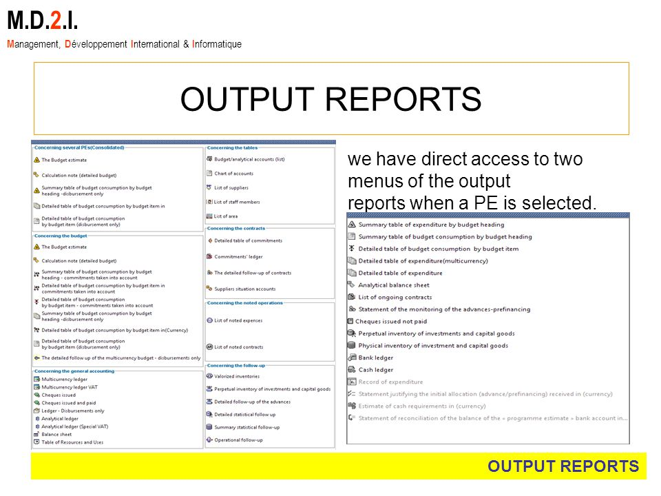OUTPUT REPORTS M.D.2.I.