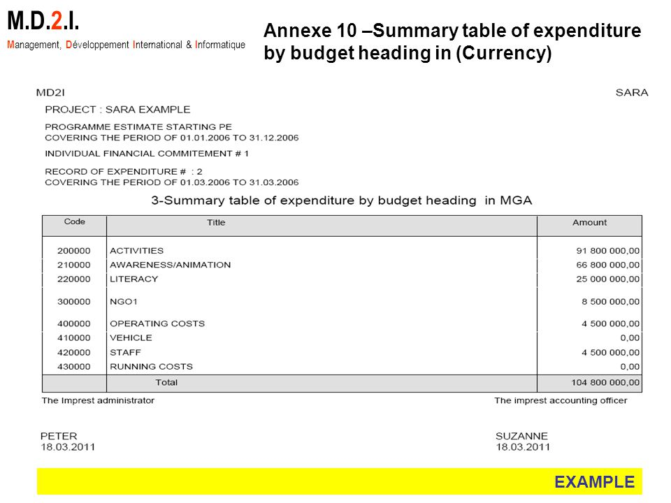 EXAMPLE M.D.2.I. M anagement, D éveloppement I nternational & I nformatique Annexe 10 –Summary table of expenditure by budget heading in (Currency)