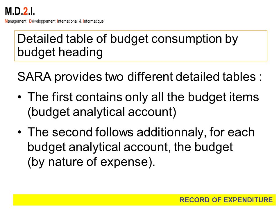 M.D.2.I. M anagement, D éveloppement I nternational & I nformatique Detailed table of budget consumption by budget heading SARA provides two different