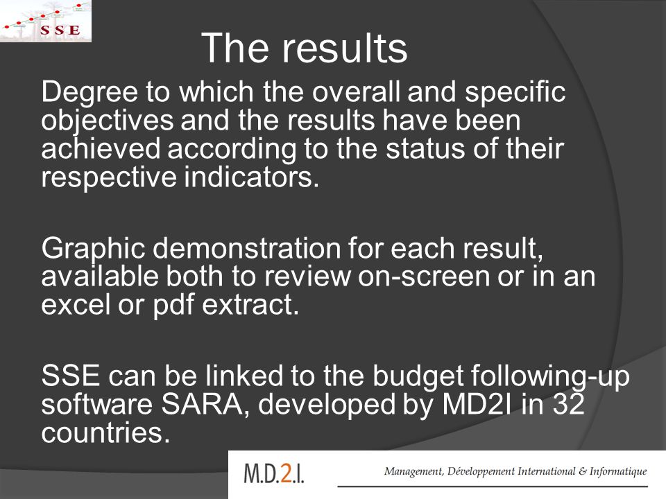 The results Degree to which the overall and specific objectives and the results have been achieved according to the status of their respective indicators.