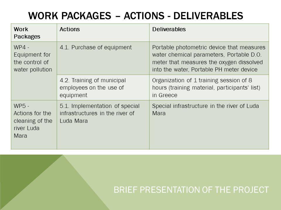WORK PACKAGES – ACTIONS - DELIVERABLES Work Packages ActionsDeliverables WP4 - Equipment for the control of water pollution 4.1.