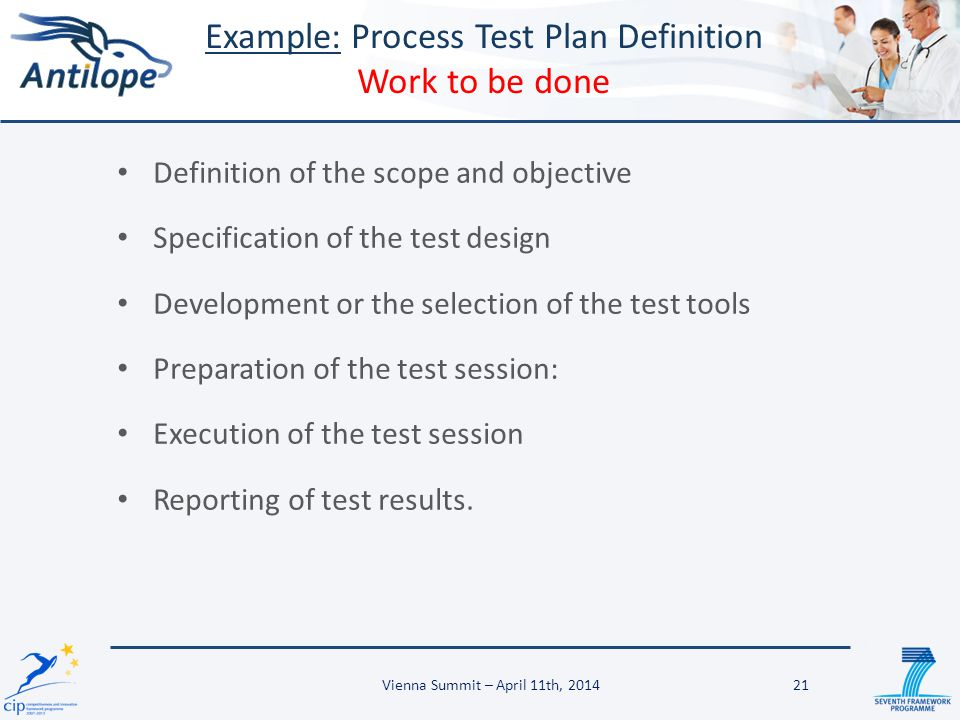 Definition of the scope and objective Specification of the test design Development or the selection of the test tools Preparation of the test session: Execution of the test session Reporting of test results.