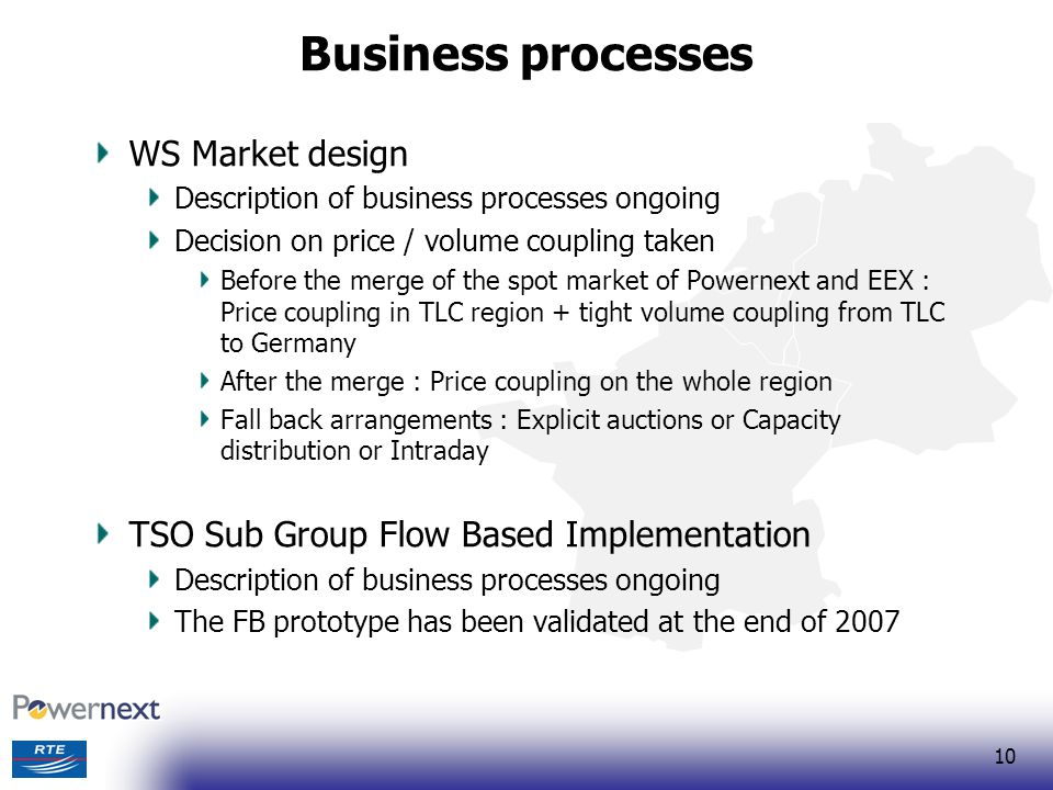 10 Business processes WS Market design Description of business processes ongoing Decision on price / volume coupling taken Before the merge of the spo