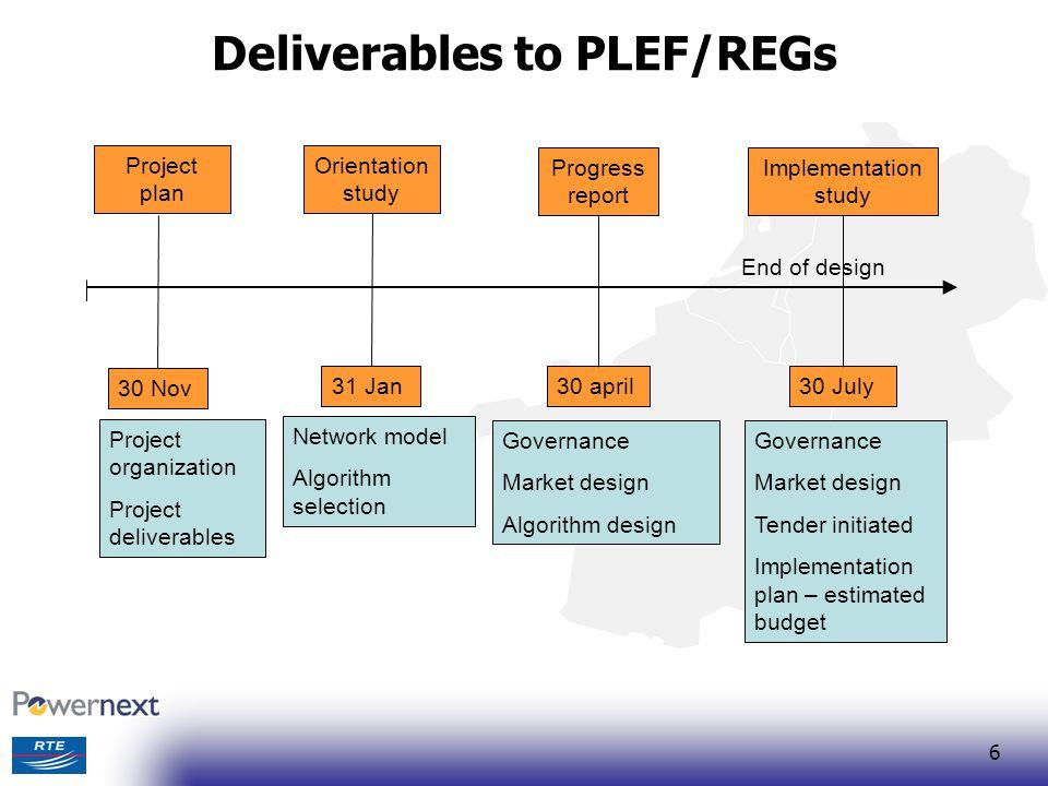 6 Deliverables to PLEF/REGs Orientation study Progress report Implementation study 31 Jan30 april30 July Network model Algorithm selection Governance