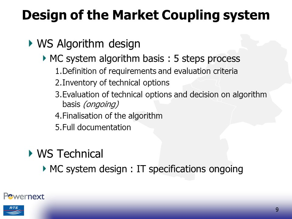 10 Business processes WS Market design Description of business processes ongoing Decision on price / volume coupling taken Before the merge of the spot market of Powernext and EEX : Price coupling in TLC region + tight volume coupling from TLC to Germany After the merge : Price coupling on the whole region Fall back arrangements : Explicit auctions or Capacity distribution or Intraday TSO Sub Group Flow Based Implementation Description of business processes ongoing The FB prototype has been validated at the end of 2007