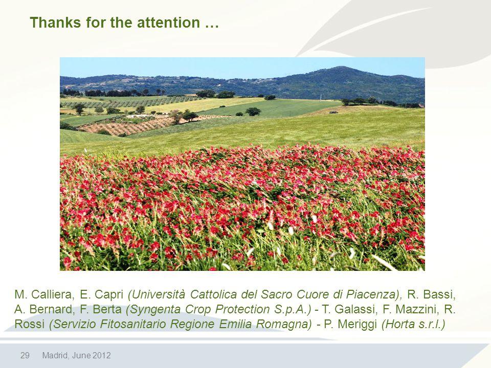 29Madrid, June 2012 M. Calliera, E. Capri (Università Cattolica del Sacro Cuore di Piacenza), R.
