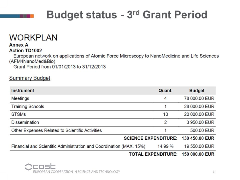 5 Budget status - 3 rd Grant Period