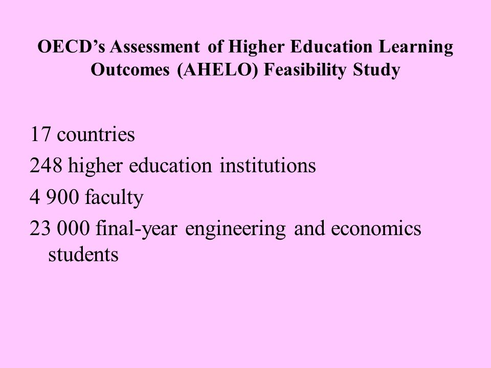 OECD's Assessment of Higher Education Learning Outcomes (AHELO) Feasibility Study 17 countries 248 higher education institutions 4 900 faculty 23 000 final-year engineering and economics students