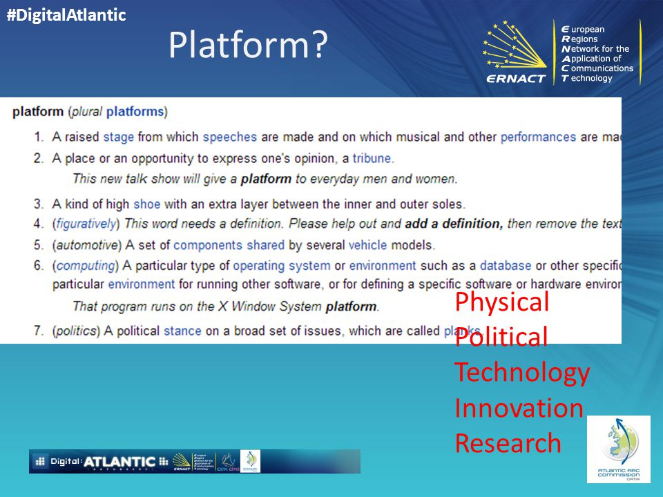 #DigitalAtlantic Platform Physical Political Technology Innovation Research