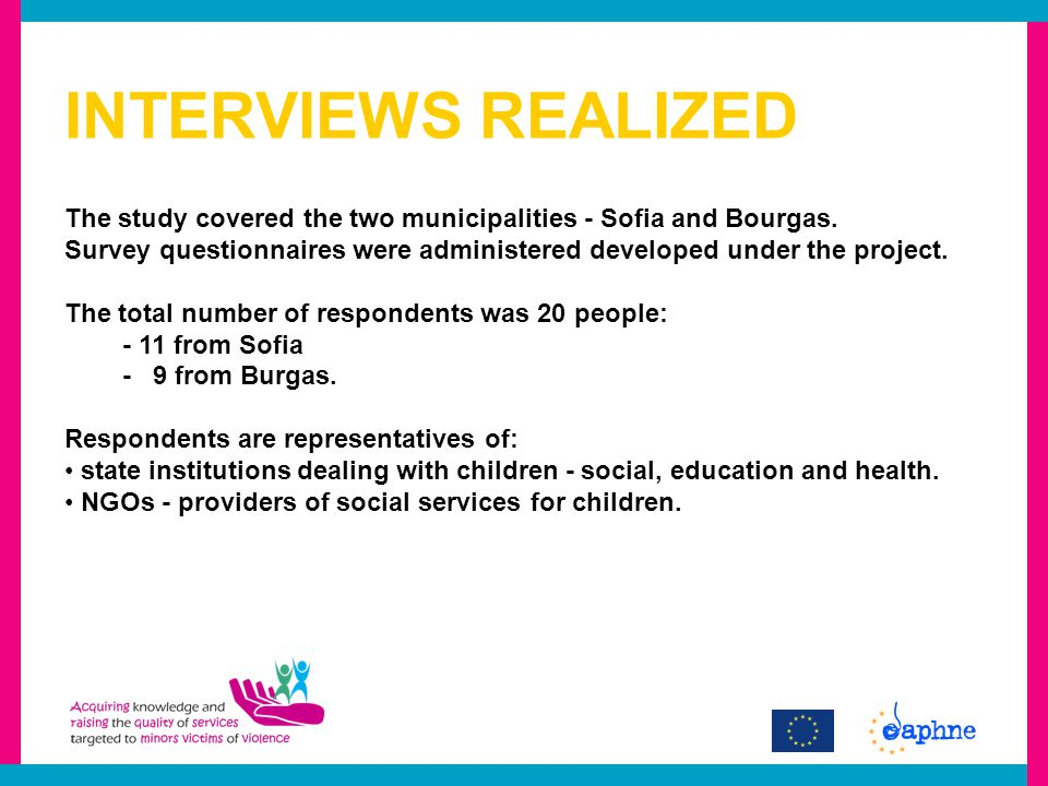 INTERVIEWS REALIZED The study covered the two municipalities - Sofia and Bourgas.