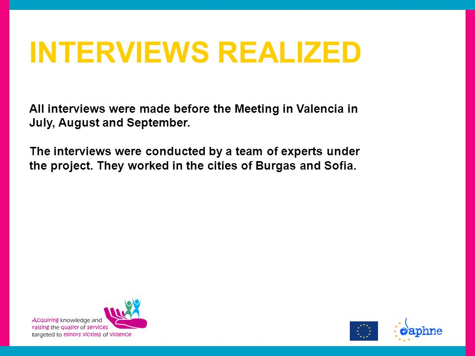 INTERVIEWS REALIZED All interviews were made before the Meeting in Valencia in July, August and September.