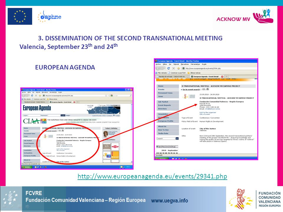 3. DISSEMINATION OF THE SECOND TRANSNATIONAL MEETING Valencia, September 23 th and 24 th EUROPEAN AGENDA http://www.europeanagenda.eu/events/29341.php
